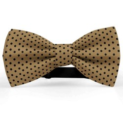 Bow Tie for Men, beige, butterfly, silk satin, bicolor, shiny, black centered small dots, handmade
