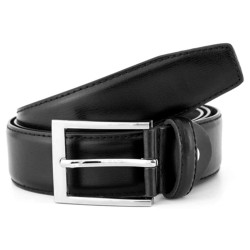 Black leather belt for men, silver buckle