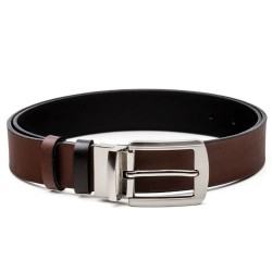 2 SIDE BELT, BROWN-BLACK, LEATHER, 3.4 CM