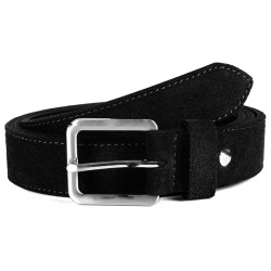 BLACK SUEDE BELT, LEATHER, 3.8 cm