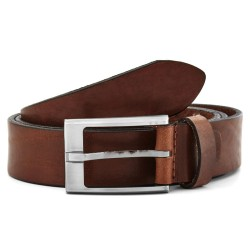 Brown leather belt for men, silver buckle
