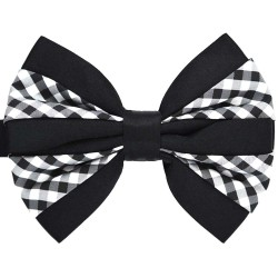 Double bow tie, white and black diamonds, black background, handmade