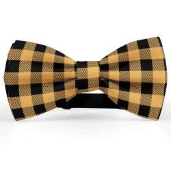 Bow Tie for Men, yellow, butterfly, silk satin, personalized, shiny, blacksmall geometric forms, handmade