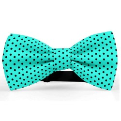 Bow Tie for Men, turqoise, butterfly, silk satin, with model, shiny, black small dots, handmade