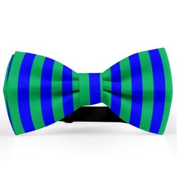 Bow Tie for Men, blue, butterfly, silk satin, bicolor, shiny, green vertical big stripes, handmade