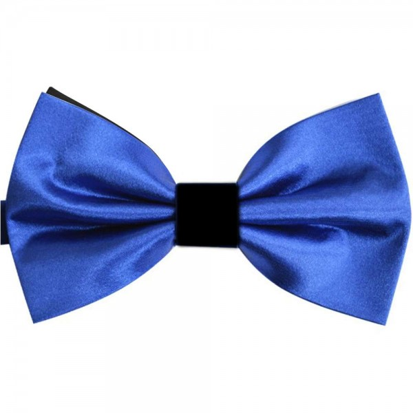 Double lovely black blue bow tie, black sewing knot and background
