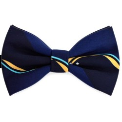 Bow Tie for Men, navy blue, butterfly, silk satin, with model, non-shiny, abstract, handmade