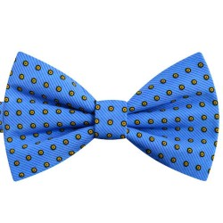 Bow Tie for Men, blue butterfly, silk satin, with model, semi shiny look, orange small dots, handmade
