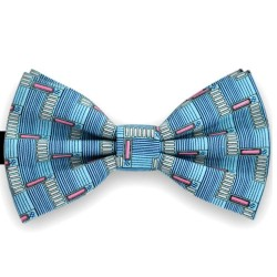 Bow Tie for Men, blue, butterfly, silk satin, with model, non-shiny, wide lines, handmade