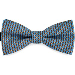 Bow Tie for Men, blue classic, silk satin, with model, semi shiny look, abstract, handmade