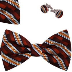 Bow Tie, Handkerchief and Cufflinks Set, brown, butterfly, silk satin, with model, shiny,geometric forms, handmade