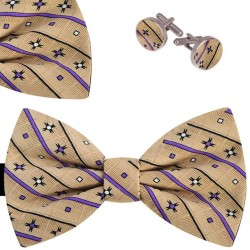 Bow Tie, Handkerchief and Cufflinks Set, beige, butterfly, silk satin, with model, non-shiny, geometric forms, handmade, party
