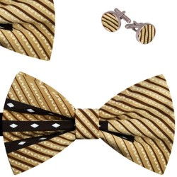 Bow Tie, Handkerchief and Cufflinks Set, beige, butterfly, silk satin, with model, non-shiny, small geometric forms, handmade