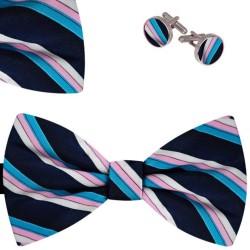 Bow Tie, Handkerchief and Cufflinks Set, butterfly, silk satin, multicolor, semi shiny look, small stripes, handmade, casual
