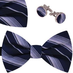 Bow Tie, Handkerchief and Cufflinks Set, blue, butterfly, silk satin, with model, semi shiny look, white oblique small stripes, handmade, elegant