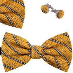 Bow Tie, Handkerchief and Cufflinks Set, yellow, butterfly, silk satin, with model, non-shiny, white geometric forms, handmade