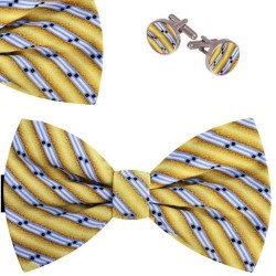 Bow Tie, Handkerchief and Cufflinks Set, yellow, butterfly, silk satin, with model, non-shiny, blue oblique thin stripes, handmade
