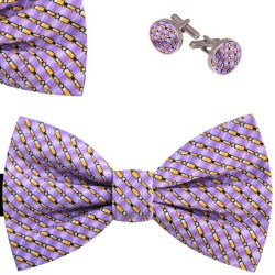 Bow Tie, Handkerchief and Cufflinks Set, purple, butterfly, silk satin, with model, non-shiny, yellow oblique small geometric forms, handmade