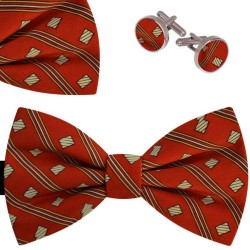 Bow Tie, Handkerchief and Cufflinks Set, red, butterfly, silk satin, with model, non-shiny, small geometric forms, handmade