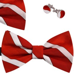 Bow Tie, Handkerchief and Cufflinks Set, red, butterfly, silk satin, with model, non-shiny, white oblique wide stripes, handmade