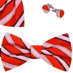 Bow Tie, Handkerchief and Cufflinks Set, red, butterfly, silk satin, with model, non-shiny, pinkwide stripes, handmade