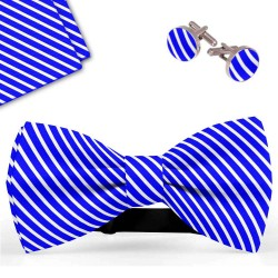 Bow Tie, Handkerchief and Cufflinks Set, blue, butterfly, silk satin, with model, semi shiny look, white oblique slim stripes, handmade, casual