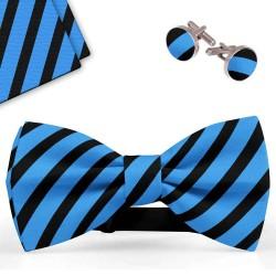 Bow Tie, Handkerchief and Cufflinks Set, blue, butterfly, silk satin, bicolor, semi shiny look, blacksmall stripes, handmade, smart casual