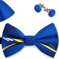 Bow Tie, Handkerchief and Cufflinks Set, blue, butterfly, silk satin, with model, semi shiny look, yellow oblique small stripes, handmade, smart casual