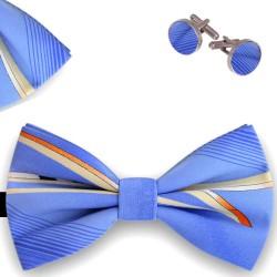 Bow Tie, Handkerchief and Cufflinks Set, , butterfly, silk satin, multicolor, semi shiny look,oblique small stripes, handmade, casual
