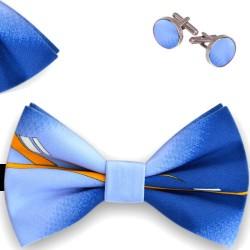 Bow Tie, Handkerchief and Cufflinks Set, blue, butterfly, silk satin, with model, semi shiny look, handmade, casual