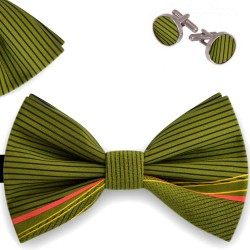 Bow Tie, Handkerchief and Cufflinks Set, green, butterfly, silk satin, with model, non-shiny, black horizontal slim lines, handmade