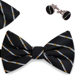 Bow Tie, Handkerchief and Cufflinks Set, black, butterfly, silk satin, with model, non-shiny, geometric forms, handmade