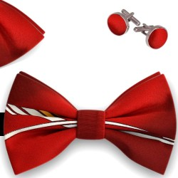 Bow Tie, Handkerchief and Cufflinks Set, red, butterfly, silk satin, with model, non-shiny, white geometric forms, handmade