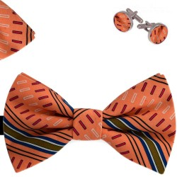 Bow Tie, Handkerchief and Cufflinks Set, orange, butterfly, silk satin, with model, non-shiny, abstract, handmade