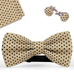 Bow Tie, Handkerchief and Cufflinks Set, beige, butterfly, silk satin, with model, non-shiny, blacksmall dots, handmade