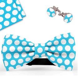 Bow Tie, Handkerchief and Cufflinks Set, blue, butterfly, silk satin, with model, non-shiny, whitebig dots, handmade, elegant