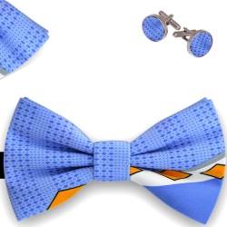Bow Tie, Handkerchief and Cufflinks Set, butterfly, silk satin, multicolor, semi shiny look, geometric forms, handmade, casual