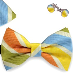 Bow tie, handkerchief and cufflinks, butterfly, silk satin, multicolor, matte, oblique wide stripes, handmade, casual