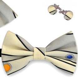 Bow Tie, Handkerchief and Cufflinks Set, beige, butterfly, silk satin, bicolor, semi shiny look, black horizontal small stripes, handmade, smart casual