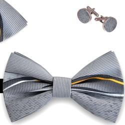 Bow Tie, Handkerchief and Cufflinks Set, butterfly, silk satin, multicolor, non-shiny, stripes, handmade