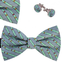 Bow Tie, Handkerchief and Cufflinks Set, gray, butterfly, silk satin, with model, non-shiny, geometric forms, handmade