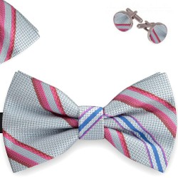 Bow Tie, Handkerchief and Cufflinks Set, gray, butterfly, silk satin, with model, shiny, pink oblique thin stripes, handmade