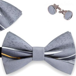 Bow Tie, Handkerchief and Cufflinks Set, gray, butterfly, silk satin, with model, non-shiny, lines, handmade