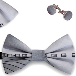 Bow Tie, Handkerchief and Cufflinks Set, gray, butterfly, silk satin, with model, non-shiny, black, geometric forms, handmade