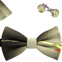 Bow Tie, Handkerchief and Cufflinks Set, gray, butterfly, silk satin, with model, non-shiny, yellow stripes, handmade