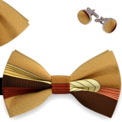 Bow Tie, Handkerchief and Cufflinks Set, butterfly, silk satin, multicolor, non-shiny, slim lines, handmade, party
