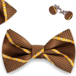 Bow Tie, Handkerchief and Cufflinks Set, brown, butterfly, silk satin, with model, non-shiny,geometric forms, handmade