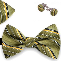 Bow Tie, Handkerchief and Cufflinks Set, green, butterfly, silk satin, with model, non-shiny, geometric forms, handmade