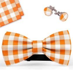 Bow Tie, Handkerchief and Cufflinks Set, orange, butterfly, silk satin, with model, shiny, white geometric forms, handmade