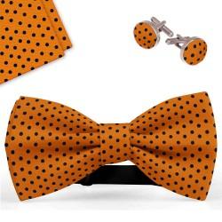 Bow Tie, Handkerchief and Cufflinks Set, orange, butterfly, silk satin, with model, shiny, blacksmall dots, handmade